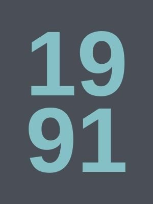 The number 1991 in light blue on grey background